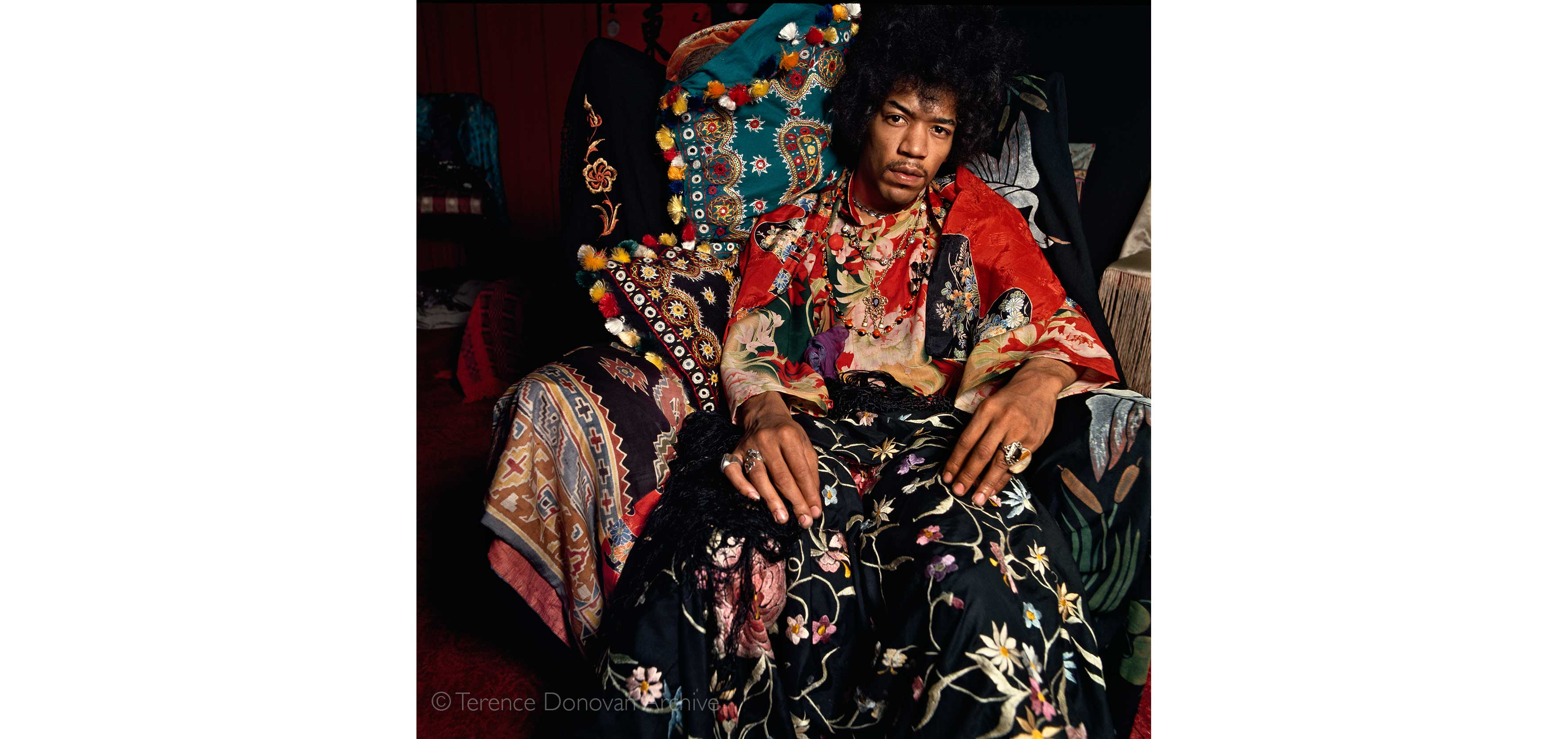 Jimi Hendrix photographed in his London flat for the Sunday Times, August 1967