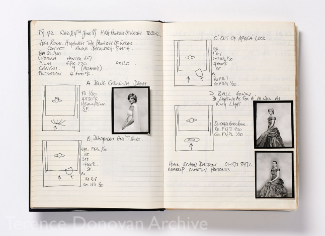 A page from Terence Donovan's daybook recording details of a shoot with Diana, Princess of Wales