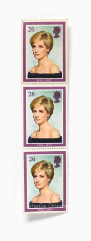 A Royal Mail stamp featuring Terence Donovan's 1986 portrait of Diana, Princess of Wales
