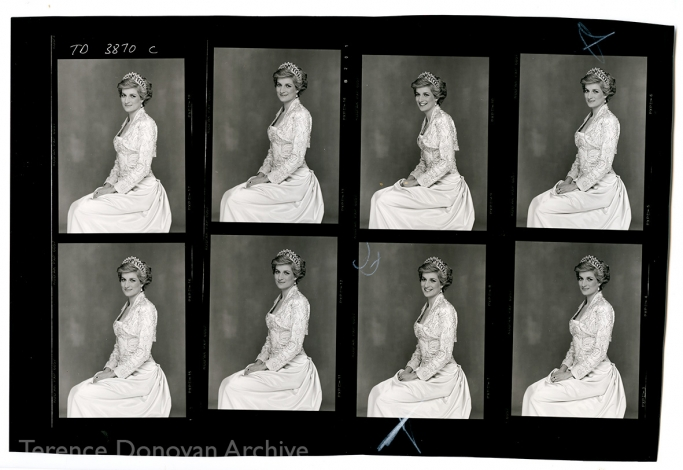 A contact sheet of Diana, Princess of Wales, 26 February 1990