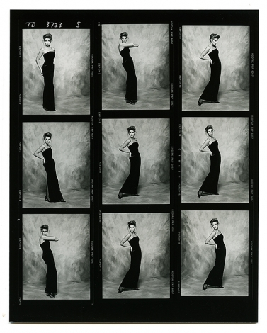 A contact sheet of CIndy Crawford by Terence Donovan, 26 April 1988